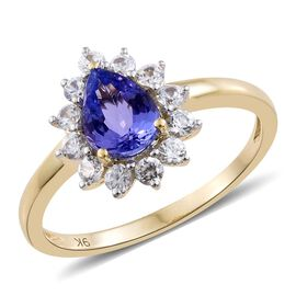 Limited Available- 9K Yellow Gold AA Tanzanite (Pear 1.00 Ct), Natural Cambodian Zircon Ring 1.750 C