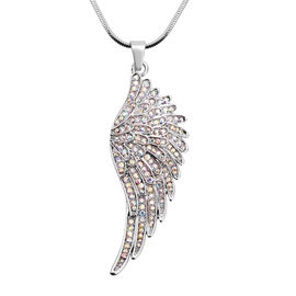 Simulated Mystic White Crystal Angel Wing Pendant with Chain (Size 28 with 2.5 inch Extender) in Sil