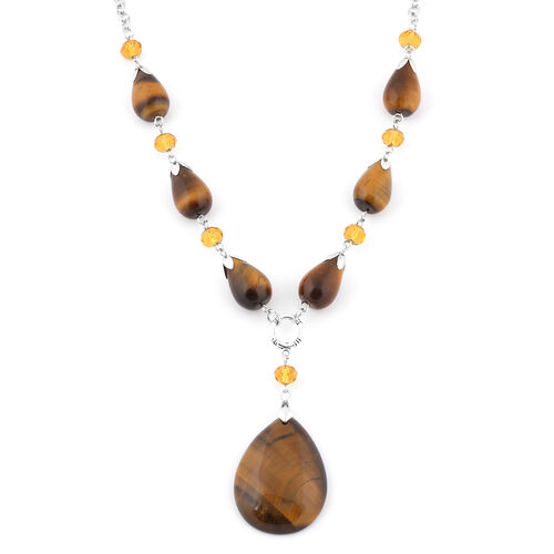 Yellow Tigers Eye and Simulated Champagne Quartz Necklace (Size - 18 + 2 inch Extender) in Silver To
