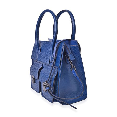 Genuine Leather Navy Colour Croc and Ostrich Embossed Tote Bag with External Zipper Pocket and Adjustable and Removable Shoulder Strap (Size 28x25.5x12 Cm)