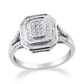 0.50 Carat Diamond Cluster Ring in Platinum Plated Sterling Silver