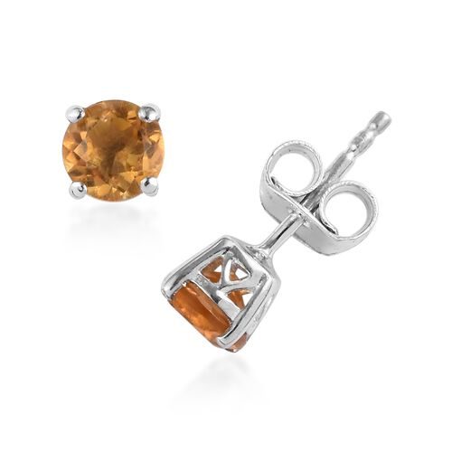 3 Piece Set - Citrine Pendant with Chain (Size 18) and Stud Earrings (with Push Back) in Platinum Overlay Sterling Silver 1.13 Ct.