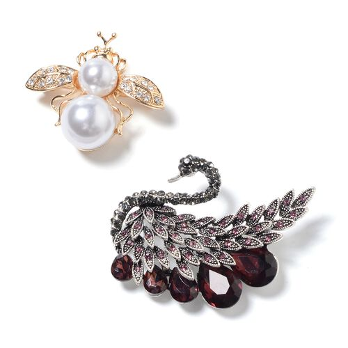 Set of 2- Simulated Amethyst, Simulated Pearl, Multi Colour Austrian Crystal and White Austrian Crystal Swan and Bee Brooch in Silver Bond