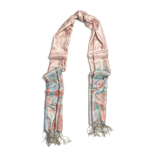 SILK MARK - 100% Superfine Silk Light Pink Colour Jacquard Jamawar Scarf with Fringes (Size 180x70 Cm) (Weight 125-140 Grams)