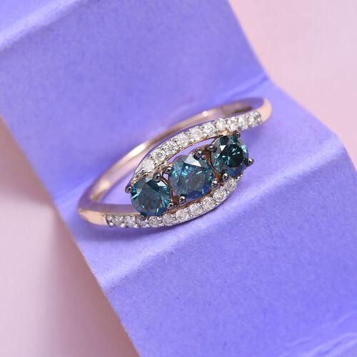 9K Yellow Gold Blue Diamond (Rnd), White Diamond (I1/G-H) Ring 0.75 Ct.