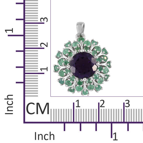 Amethyst (Rnd 4.25 Ct), Kagem Zambian Emerald Floral Pendant in Platinum Overlay Sterling Silver 6.000 Ct, Silver wt 5.17 Gms.