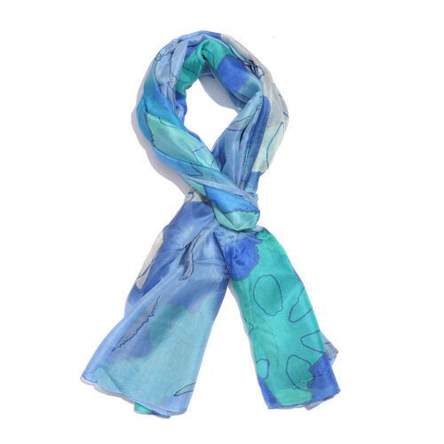 100% Mulberry Silk Blue, Green and Multi Colour Handscreen Printed Scarf (Size 180x100 Cm)