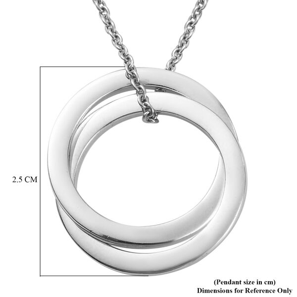 Platinum Overlay Sterling Silver Circle Pendant with Chain, Silver wt 5.30 Gms