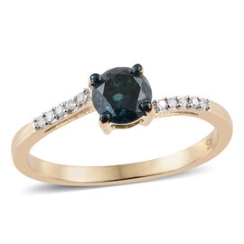 9K Yellow Gold Blue and White Diamond (Rnd) Ring 0.570 Ct.