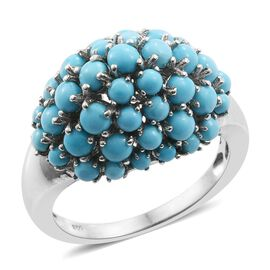 3.87 Ct Arizona Sleeping Beauty Turquoise Cluster Ring in Platinum Plated Silver