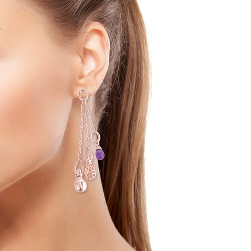 RACHEL GALLEY Mystic Collection Amethyst Dangle Earrings (with Push Back) in Rose Gold Overlay Sterling Silver, Silver wt 14.60 Gms