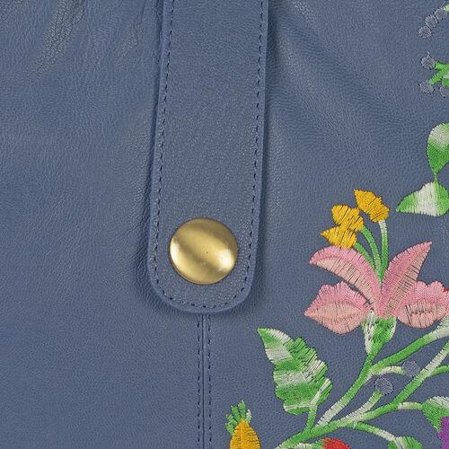 Premium Collection 100% Genuine Leather Blue Colour Floral Embroidered RFID Blocker Bag (Size 35x25x8 Cm)