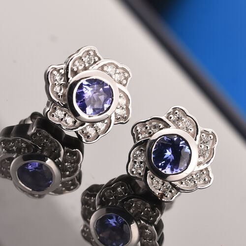 Tanzanite and Natural Cambodian Zircon Floral Earrings (with Push Back) in Platinum Overlay Sterling Silver 1.00 Ct.