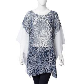 New Season: Sheer Leopard Print Kaftan - Grey with White Sleeves (Size 80x66 Cm)