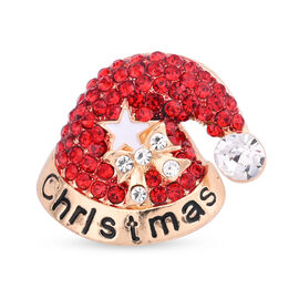 Christmas Red and White Austrian Crystal Cap Enamelled Brooch Cum Pendant in Yellow Gold Tone