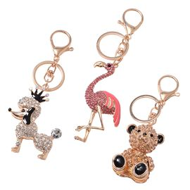 DOD- 3 Piece Set- White, Black and Multi Colour Austrian Crystal Poodle, Flamingo and Teddy Bear Key