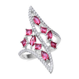 ELANZA Simulated Ruby (Mrq), Simulated Diamond Ring in Rhodium Overlay Sterling Silver