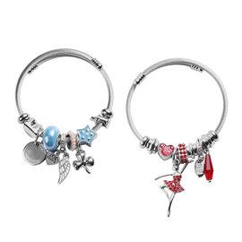 Set of 2 -  Simulated Aquamarine, Red Austrian Crystal and Multi Gemstone Enamelled Charm Bracelets