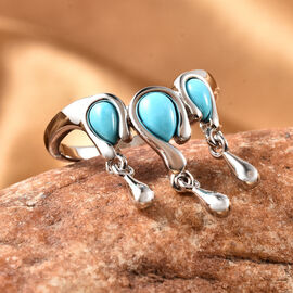 LucyQ Drip Collection - Arizona Sleeping Beauty Turquoise Ring in Rhodium Overlay Sterling Silver