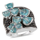 7.84 Ct Paraibe Apatite and Black Spinel with Multi Gemstones Ring (Size L) in Sterling Silver 6.4 Grams