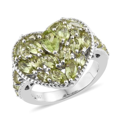 Hebei Peridot (Mrq) Heart Ring in Platinum Overlay Sterling Silver 3.250 Ct, Silver wt 5.54 Gms.