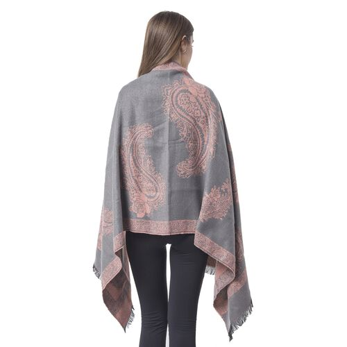 Designer Inspired-Pink and Grey Colour Paisley and Floral Pattern Blanket Scarf with Tassels (Size 180x67 Cm)