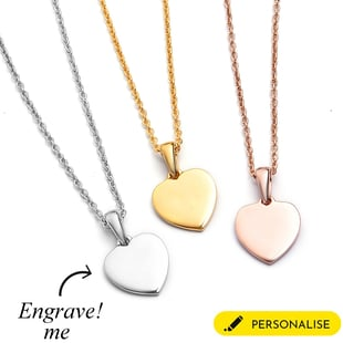 Personalised Engravable Initial Heart Pendant with Chain in Silver