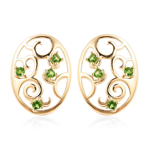 LucyQ Victorian Era Collection - Russian Diopside Filigree Stud Earrings (with Push Back) in Yellow