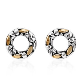 Bali Legacy Collection Sterling Silver and 18K Yellow Gold Stud Earrings (with Push Back)