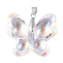 Simulated White Mystic Topaz Butterfly Pendant in Rhodium Plated Sterling Silver