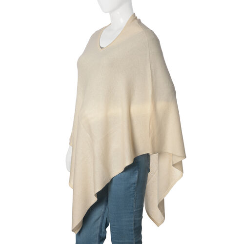 Limited Available - 100% Pashmina Wool Cream Colour Poncho (Free Size)