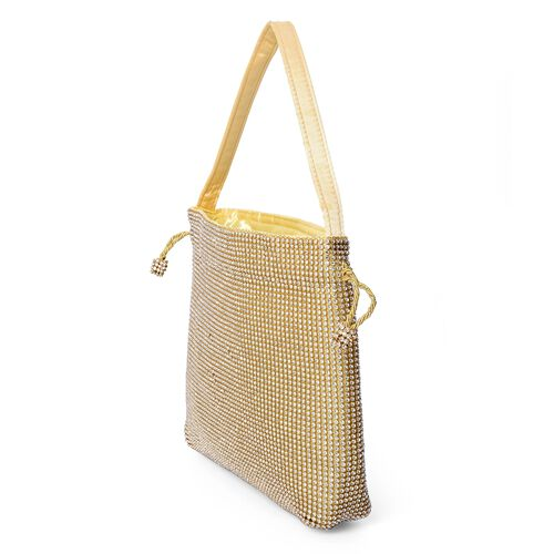 Crystal Studded Drawstring Tote Bag (Size 21x21.5x4 Cm) - Gold and White