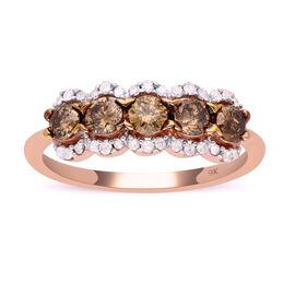 Limited Available- 9K Rose Gold SGL Certified Natural Champagne and White Diamond (I3/G-H) Five Ston