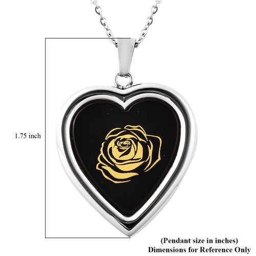 Black Agate Rose Pattern Heart Shaped Pendant with Chain (Size 20) with Magnifying Glass Tool in Stainless Steel