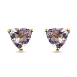 Pink Amethyst Solitaire Stud Push Post Earring in 14K Gold Overlay Sterling Silver 1.28 ct  1.275  C