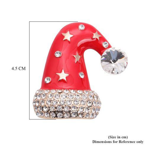 White Austrian Crystal Enamelled Christmas Theme Cap Brooch