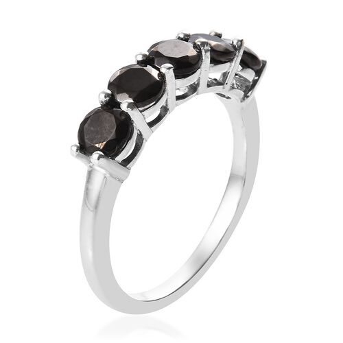Elite Shungite (Rnd) Five Stone Ring in Platinum Overlay Sterling Silver