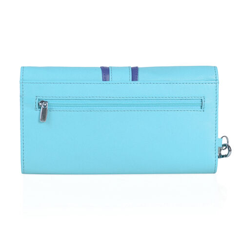 100% Genuine Leather RFID Blocker Turquoise and Navy Colour Ladies Wallet with External Zipper Pocket (Size 19.5X10 Cm)