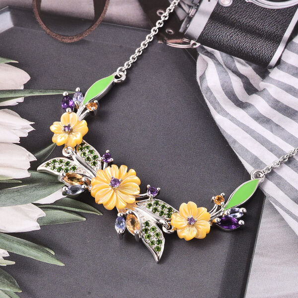 Jardin Collection - Yellow Mother of Pearl, Citrine and Multi Gemstone Enamelled Floral Necklace (Size 18) in Rhodium Overlay Sterling Silver, Silver wt 7.10 Gms