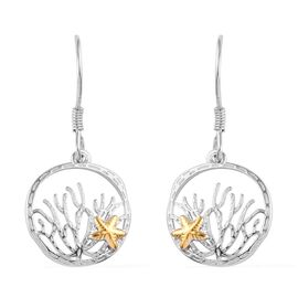 Platinum and Yellow Gold Overlay Sterling Silver Starfish Hook Earrings