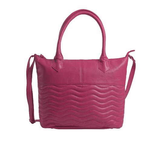 Premium Collection 100% Genuine Leather  Hot Pink Colour RFID Blocker Tote Bag (Size 40x29x8 Cm)