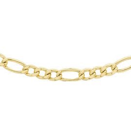 9K Yellow Gold Hollow Figaro Chain (Size 18), Gold wt 3.20 Gms