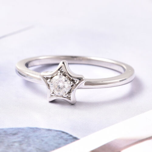 LucyQ Star Collection - Moissanite Star Solitaire Ring in Rhodium Overlay Sterling Silver
