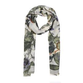 100% Merino Wool Floral Pattern Scarf (Size 70x180 Cm) - White