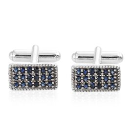 1.75 Ct Kanchanaburi Blue Sapphire and Cambodian Zircon Cufflinks in Platinum Plated Silver
