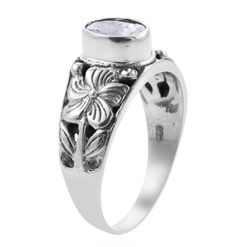 Royal Bali Collection Polki Diamond Floral Ring in Sterling Silver 0.50 Ct.