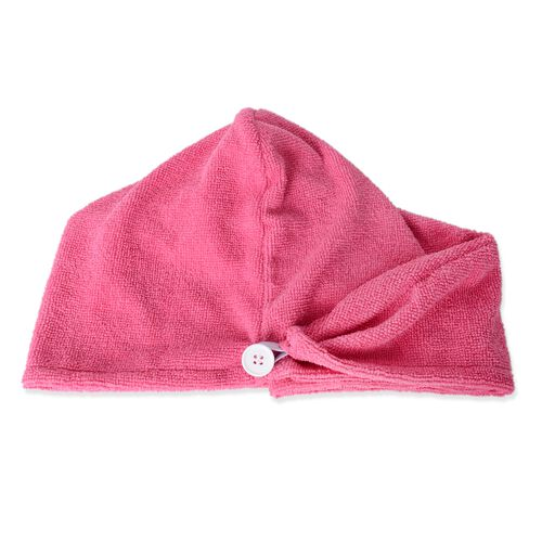 Raspberry Pink and White Bath Set  including Shower Cap, Rose Hair Wrap, Bath Pillow and Eye Mask
