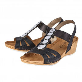 Lotus Padova Wedge Sandals in Black Colour