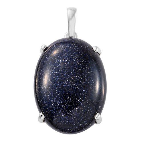 Blue Sandstone (Oval 30x22 mm) Pendant in Sterling Silver