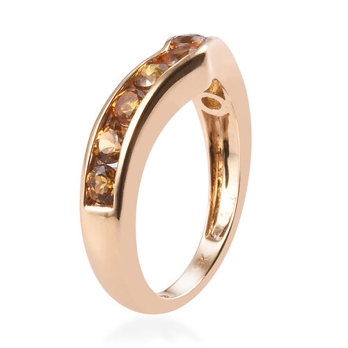 9K Yellow Gold AAA Yellow Sapphire Wishbone Ring 1.20 Ct.